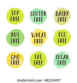 Set of allergen free badges. Soy, gluten, dairy, nut, wheat, egg, gmo, fat, sugar free. Vector hand drawn signs. Can be used for packaging design