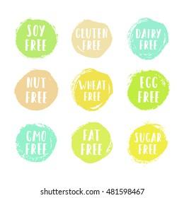 Set of allergen free badges. Vector hand drawn grunge food labels