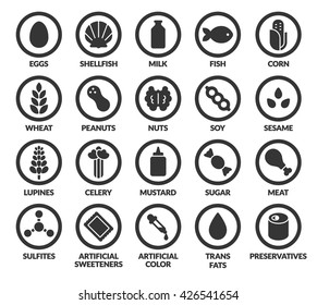 Set of allergy ingredient warning icons. Common allergens symbols. Gluten and sesame sensitivity, fish, soy, artificial colors and preservatives, and more.