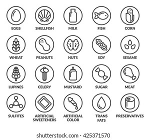 Set of allergy ingredient warning labels. Common allergens icons. Gluten and sulfite sensitivity, celery and mustard, artificial sweeteners and preservatives, and more.