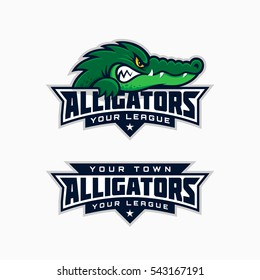Set of alligator mascot for a sport team. Vector illustration.