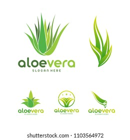 Set of Aloe Vera logo template. Green leaf aloe vera label