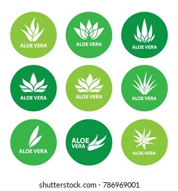 Set of aloe vera nature leaf icon , logo vector illustration
