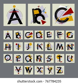 Set of alphabet with capital letters, made up of simple geometric shapes, in Modern Suprematism style, inspired by paintings of Soviet artist of the twentieth century Kazimir Malevich. EPS8 vector