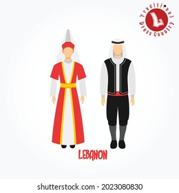 Set of alphabet cartoon characters in traditional clothes. L for Lebanon.