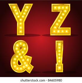 Set alphabet design with lamps