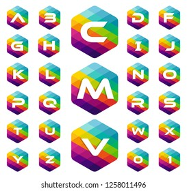 set of alphabet letter colorful logo in the hexagonal. Vector design template elements for your application or company identity
