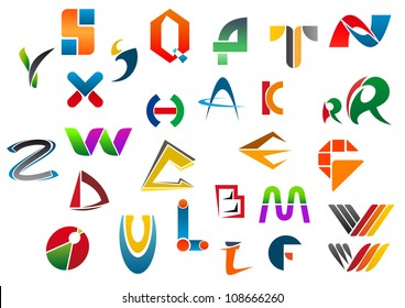 Set of alphabet symbols and icons from A to Z, such a logo idea. Jpeg version also available in gallery