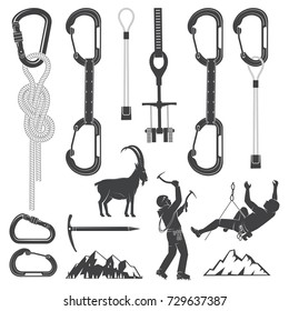 Set of Alpine Climbing Equipment silhouette icons. Set include ice axe, mountains, goat, camming devices, climbing hardware and carabiners. Equipment icons for family vacation, activity or travel.