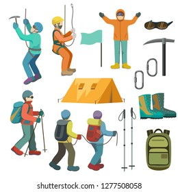 Set of alpinism: alpinists and alpinism tools.  Mountaineering, Mountain climbing vector illustration