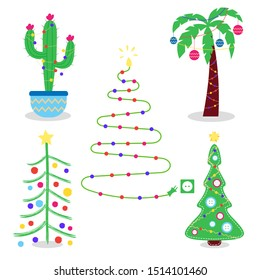 Set of alternative creative christmas trees. Christmas cactus, palm tree, stitched Christmas tree with buttons, Christmas tree from garlands, children drawing. Editable vector illustration
