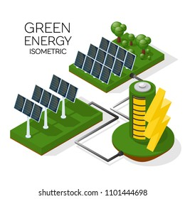 a set of alternative energy sources. Solar panels transmit energy to the battery. isometric 3d