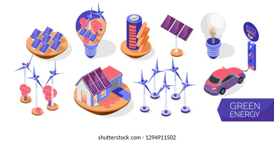 Set of alternative energy sourses. Green energy in isometric style. Windmills, solar panels, electric bulb, eco friendly car and car charge station. Vector  illustration on a white background