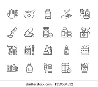 Set of alternative medicine Related Vector Line Icons. Includes such Icons as yoga, Spa, massage, herbs, smell, stones, nature, natural, ointment, oil, soap, pills, medicine, phytotherapy