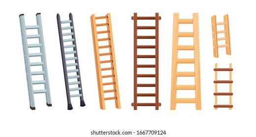 Set of aluminum and wooden ladders with stairs. Cartoon vector illustration isolated on white background