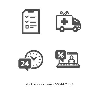 Set of Ambulance car, Interview and 24h service icons. Online loan sign. Emergency transport, Checklist file, Call support. Discount percent.  Classic design ambulance car icon. Flat design. Vector