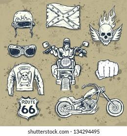 Set of american biker attributes