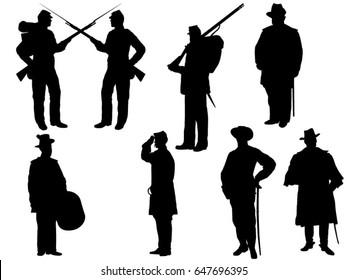 Set of American civilwar silhouette