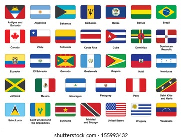 set of American countries flag icons with rounded corners