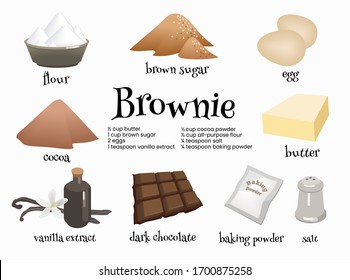 Set of american dessert brownie ingredients. Eggs, dark chocolat, butter, cocoa, vanilla extract, brown sugar, flour, baking powder and salt for preparation of traditional sweets. Cartoon illustration
