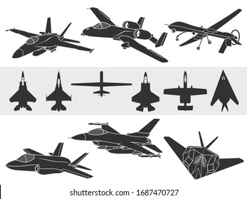 Set of american fighter airplanes: F-18, A-10, F-35, F-16 and F-117