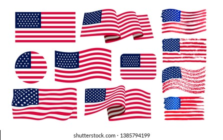 Set of American flag. Icon grunge American flag. Watercolor flag of USA. Print. Vector illustration. Isolated on white background.