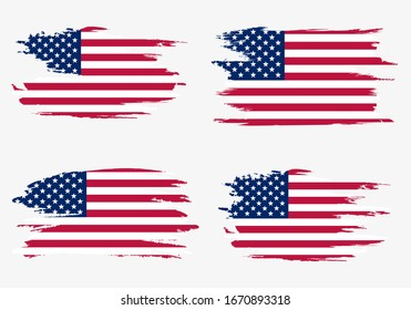 Set American flags. Brush painted flags of USA. Hand drawn style illustration with a grunge effect and watercolor. American flags with grunge texture. Vector illustration.