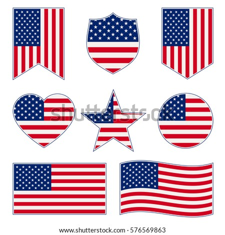 5bfdc5db6f58 Set American Flags Different Shapes Frame Stock Vector (Royalty Free ...