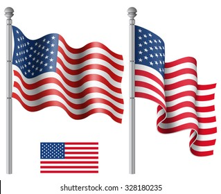 Set of American flags with the flagpole vector illustration. Saved in EPS 10 file with transparencies.
