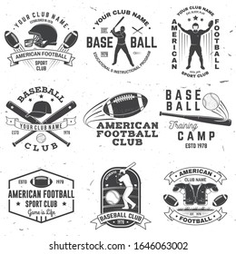 Set of american football and baseball club badge. Vector for shirt, logo, print, stamp. Vintage design with baseball bats, american football sportsman player, helmet, ball and shoulder pads silhouette