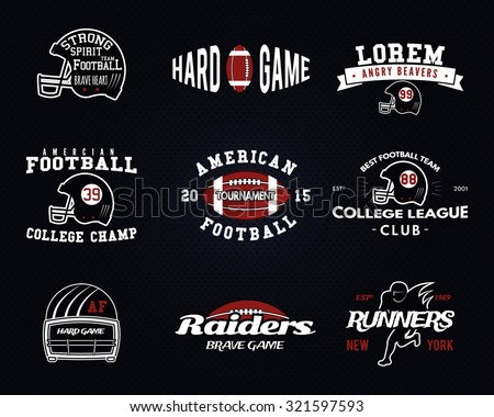 Set American Football College League Labels Stock Vector (Royalty ... b24b2b9d9