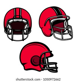 Set of american football helmets isolated on white background. Design element for logo, label, emblem, sign, poster, t shirt. Vector illustration
