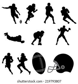 Set of American Football Players Silhouette. Vector Image