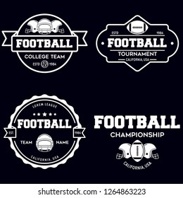 Set of american football related badges, logos, labels, insignias in vintage monochrome style. Graphic vintage design for t-shirt, web. Colorful print. Isolated vector illustration.