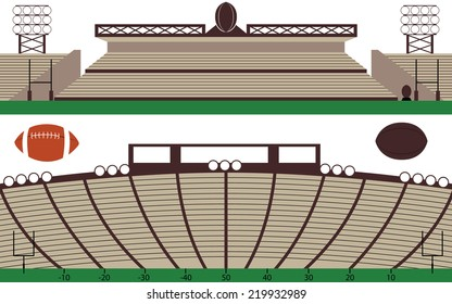 Set of American Football Stadium and Rugby field Landscape