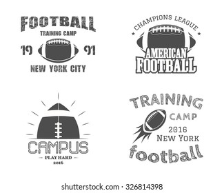 Set of american football team campus badges, logos, labels, insignias in retro monochrome style. Graphic vintage design for t-shirt, web. Colorful print isolated on a dark background. Vector.