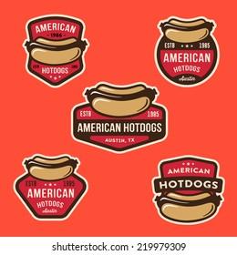 Set of American Hotdog Badges and logo templates