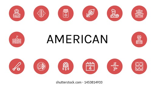 Set of american icons such as American football player, Hot dog, French fries, Dreamcatcher, Basketball, Police station, Baseball ball, Steak, th of july, Charleston , american