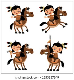 Set of American Indian boy riding horse in different poses isolated on white background.
