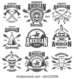 Set of american indian emblems, labels, badges, logos and designed elements. Wild West theme. Monochrome style