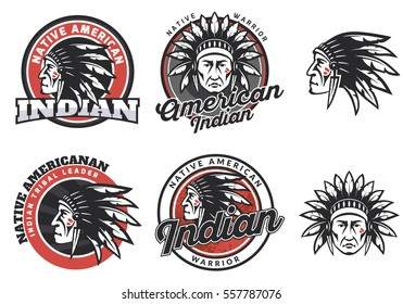 Set of american indian round logo, badges and emblems isolated on white background. Face, head of american indian. Tee print design.