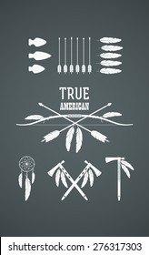 Set of American Indian tribal symbols. Native American cultural symbolic objects and traditional weapons.