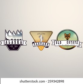 Set of American logo badges