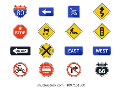 set American road signs on a white background. flat vector illustration.