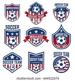 Set Of American Soccer Team Labels. Emblems With Football Balls. Vector  Illustration
