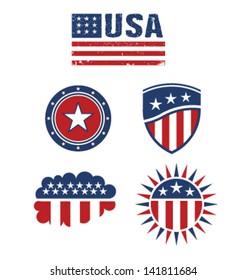 Set of american symbols. Vector graphic design