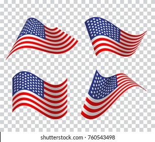 Set of American wavy flags. Icon on transparent background. Vector illustration