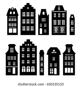 Set of Amsterdam style houses in black and white. Laser cut silhouette. Stylized facades of buildings in old European fashion. Wood carving vector template. Urban landscape.