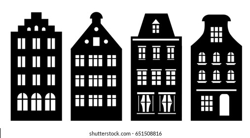 Set of Amsterdam style houses. Laser cut silhouette. Stylized facades of buildings in old European view. Wood carving vector template. Dutch urban landscape in black and white.
