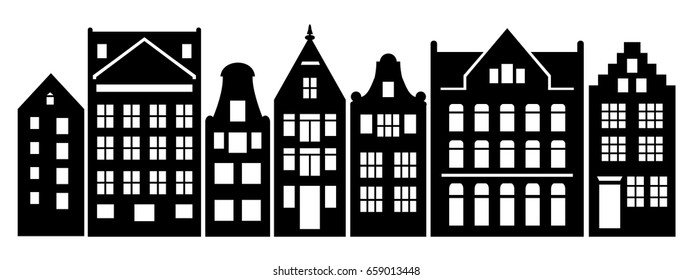 Set of Amsterdam style houses. Laser cut silhouette. Stylized facades of dutch buildings in old European fashion. Wood carving vector template. Urban landscape in black and white for your design.